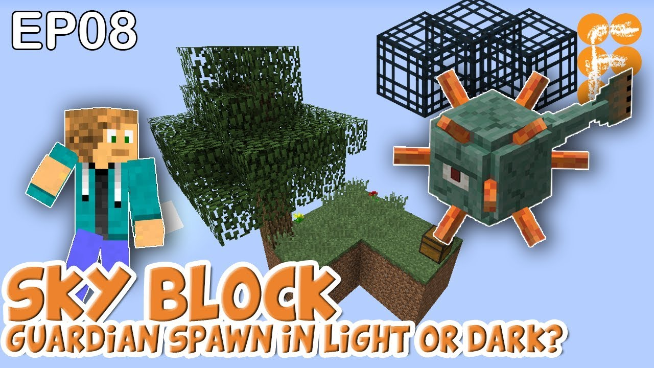 MineSaga-SkyBlock-1.0-EP8-Guardians-spawn-in-light-or-dark